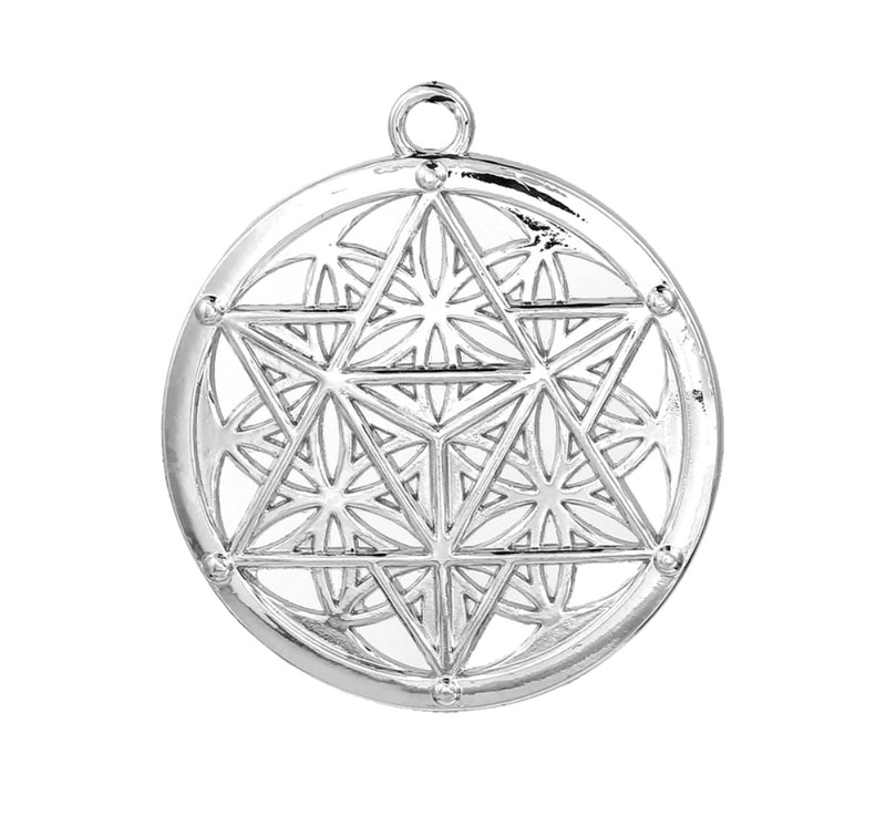 Metatron's Cube Overlaid Flower of Life Zinc Alloy Unisex Talisman Sacred Geometry Pendant, Jewelry, Merkaba Chakras - Metaphysic Products, Services, & Accessories Store