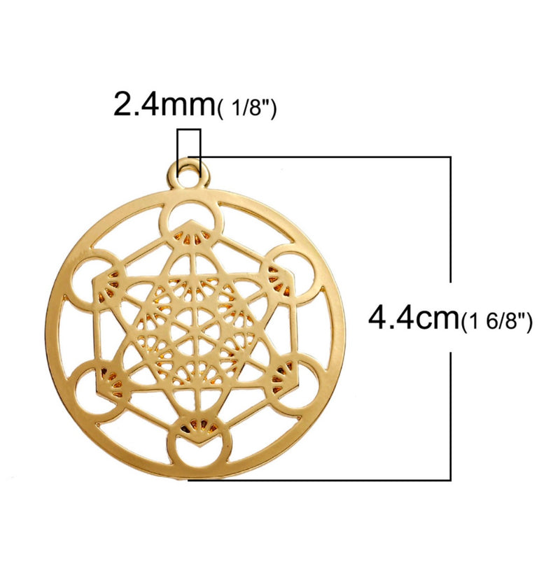 Archangel Metatron's Cube Sacred Geometry 5D Ascension Merkaba Gold-Colored Pendant, , Merkaba Chakras - Metaphysic Products, Services, & Accessories Store