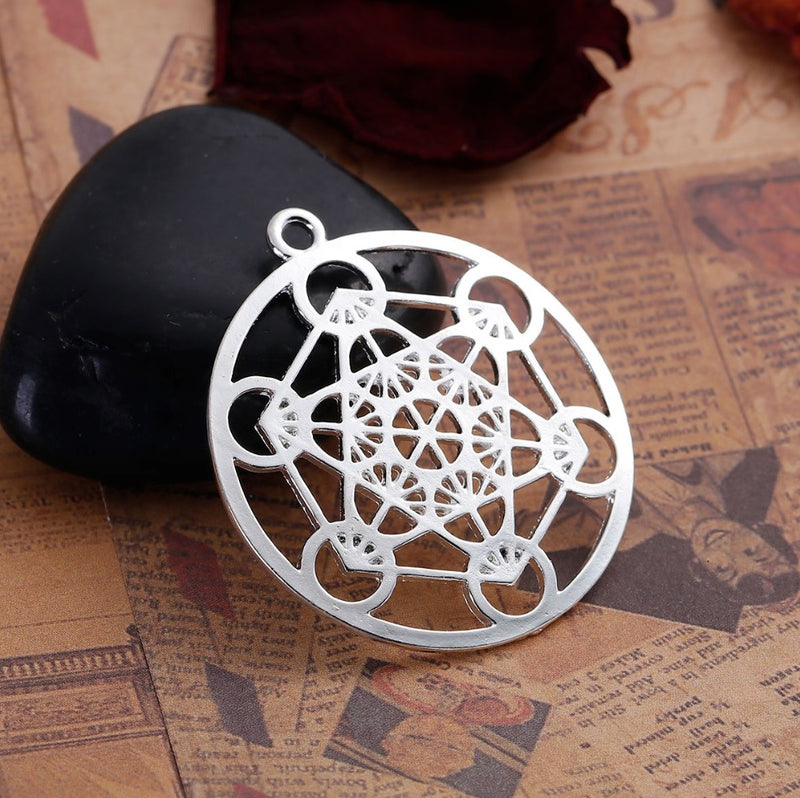 Archangel Metatron's Cube Sacred Geometry 5D Ascension Merkaba Silver-Colored Pendant, , Merkaba Chakras - Metaphysic Products, Services, & Accessories Store