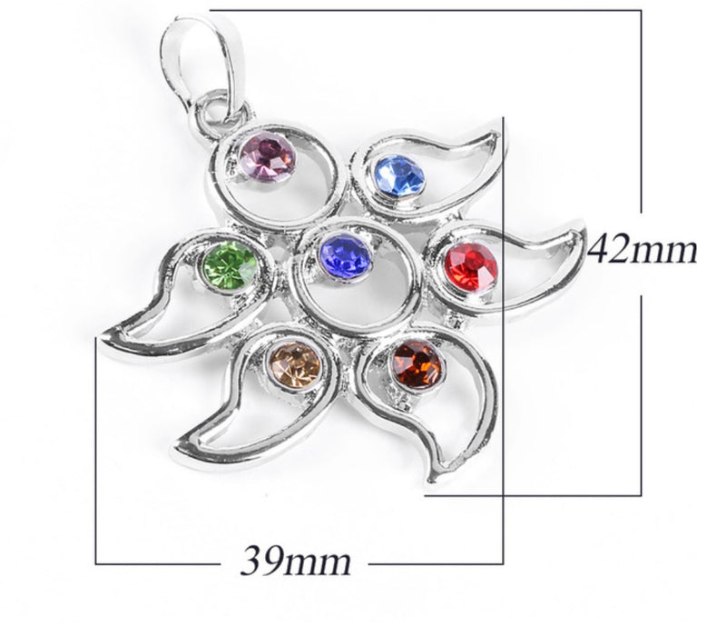 6-Pointed Star of David Flower Petals Energy Healing 7 Chakras Rhinestone Gems Pendant, , Merkaba Chakras - Metaphysic Products, Services, & Accessories Store