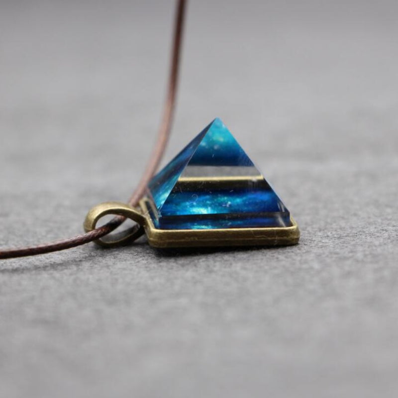 Bermuda Triangle Glass Pyramid Sacred Geometry Energizer Pendant Leather Necklace, , Merkaba Chakras - Metaphysic Products, Services, & Accessories Store