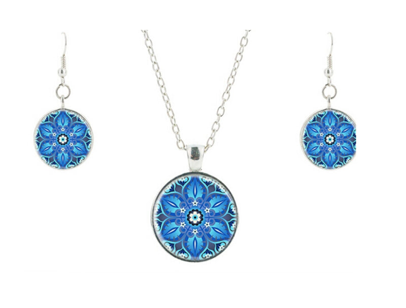 6-Pointed Star of David Lotus 2D Mandala Glass Cabochon Necklace Earrings Set, , Merkaba Chakras - Metaphysic Products, Services, & Accessories Store