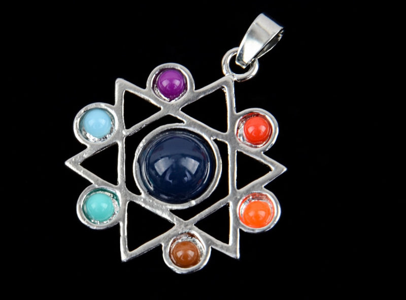 Star of David 7 Chakras Resin Bead Pendant, , Merkaba Chakras - Metaphysic Products, Services, & Accessories Store