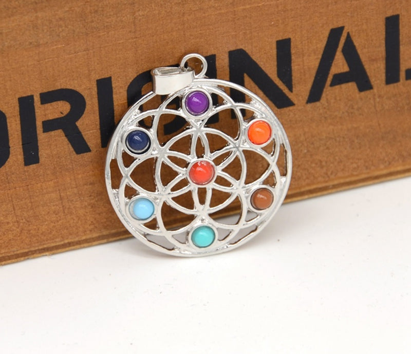 Seed of Life 7 Chakras Resin Bead Pendant, , Merkaba Chakras - Metaphysic Products, Services, & Accessories Store