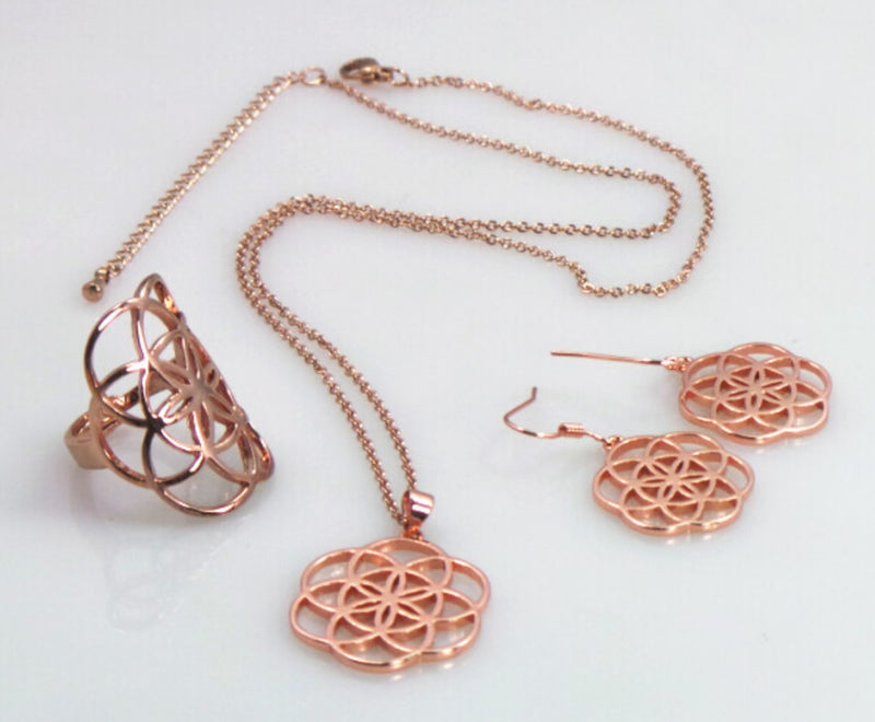 Seed of Life Earrings, Ring, and Necklace Rose-Colored Jewelry Set, , Merkaba Chakras - Metaphysic Products, Services, & Accessories Store
