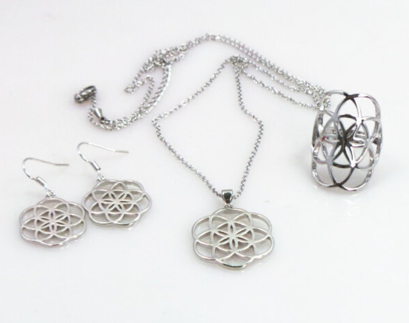 Seed of Life Earrings, Ring, and Necklace Silver-Colored Jewelry Set, , Merkaba Chakras - Metaphysic Products, Services, & Accessories Store
