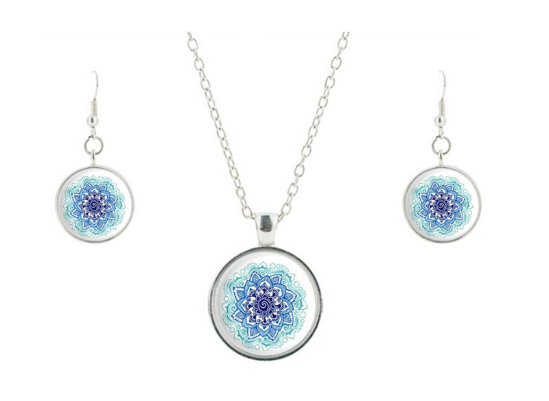 Spiral Parallel Reality Jumpers 2D Buddhist Lotus Mandala Glass Cabochon Necklace Earrings Set, , Merkaba Chakras - Metaphysic Products, Services, & Accessories Store