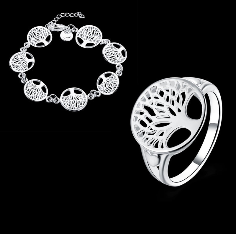 Tree of Life Ancestry Memorabilia Modern Silver-Plated Ring and Bracelet Set, , Merkaba Chakras - Metaphysic Products, Services, & Accessories Store
