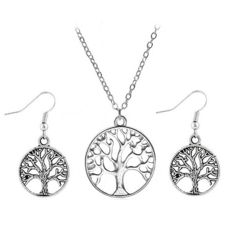 Ancient Tree of Life Generation Memorabilia Necklace Earrings Jewelry Set, , Merkaba Chakras - Metaphysic Products, Services, & Accessories Store