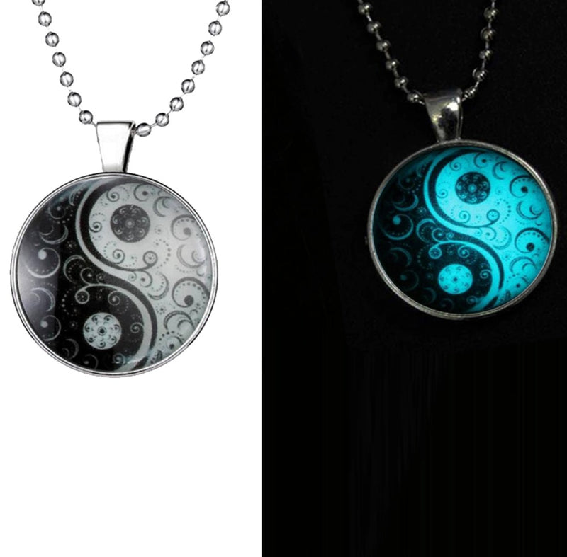 Glow in the Dark Glass Cabochon Dome Ying Yang Necklace for Energy Balance, , Merkaba Chakras - Metaphysic Products, Services, & Accessories Store