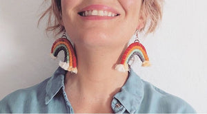 Rainbow Cotton Earrings