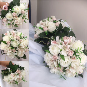 a wedding bouquet collection of faux flowers
