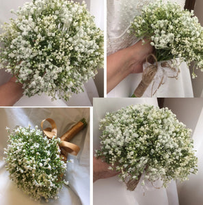 artificial wedding bouquets of white gypsophila