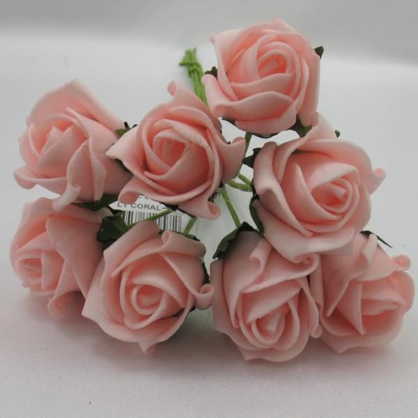 3cm light coral foam roses