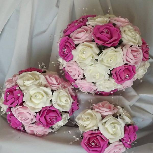 wedding bouquet collection of ivory and pink foam roses