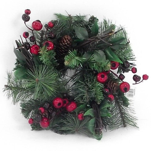 an artificial pine wreath