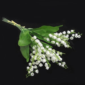 a bunch of 6 stems of pure white Lily of the Valley flowers