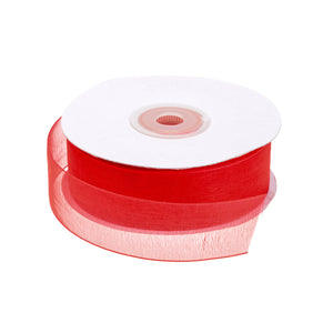 full roll of 25mm wide x 25m red organza ribbon