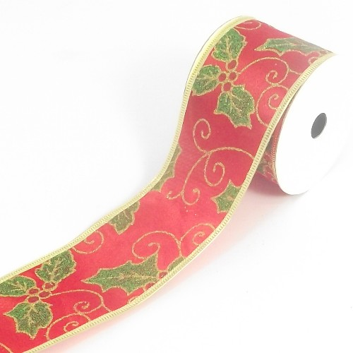 christmas wired edged satin ribbon with holly pattern