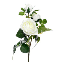 white rose silk flower spray of three flowers