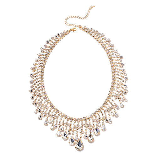 gold colour crystal and simulated diamond necklace