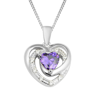 2 Piece Set - Heart Pendant with Chain & Earrings in Sterling Silver