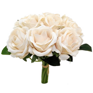 A bunch of 9 artificial rose flowers -cream