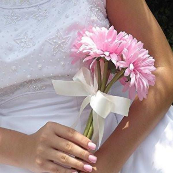 bridesmaid wedding bouquet, pink, artificial silk gerbera flowers