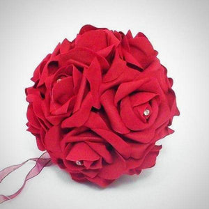 flower girls pomander of red foam roses with diamante centres