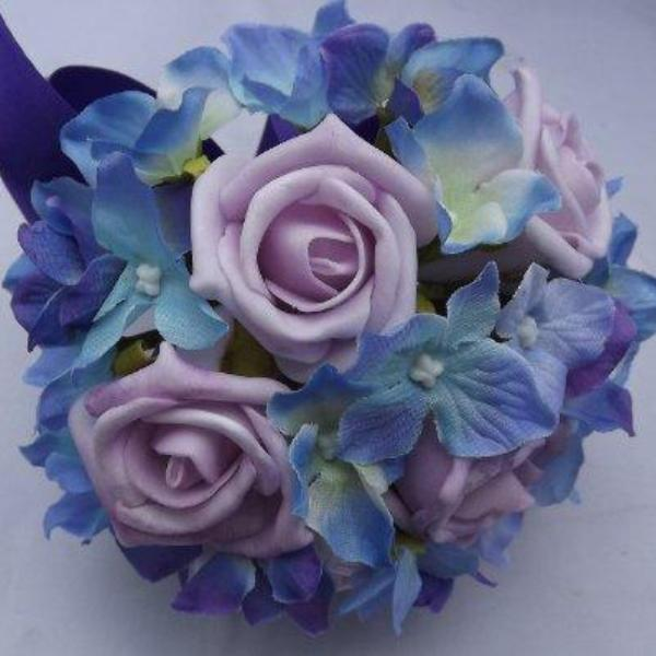 lilac and blue artificial bridesmaids flower bouquet