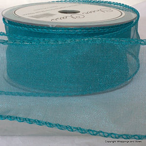 turqouise wired edged ribbon