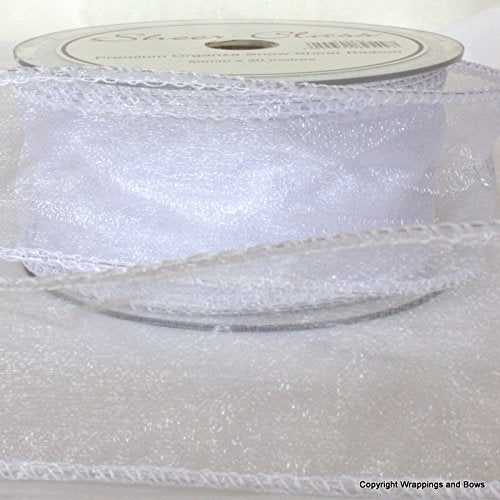 white wired edged organza ribbon