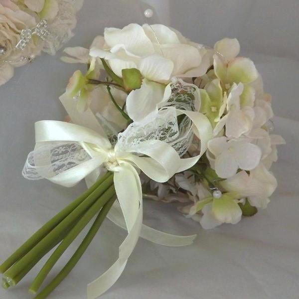 wedding bouquet, champagne, ivory artificial silk roses hydrangea flowers