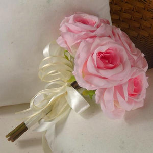 wedding posy bouquet of pink silk roses flowers