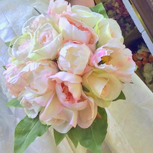 artificial wedding bouquet pale pink roses peony flowers