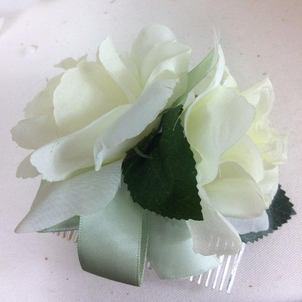 Ivory silk roses on hair comb