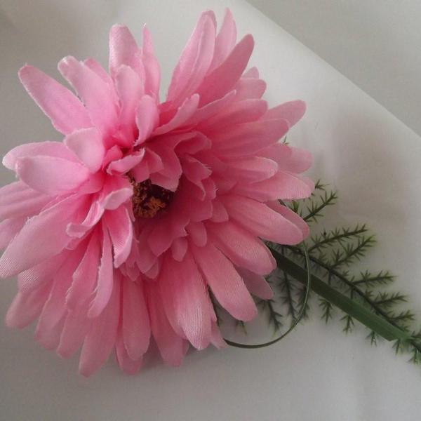 wedding buttonhole of pink silk gerbera