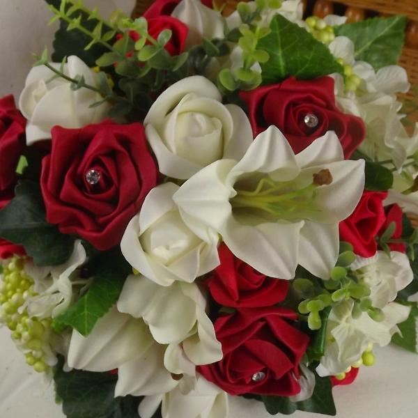 wedding bouquet, red, ivory artificial silk flowers