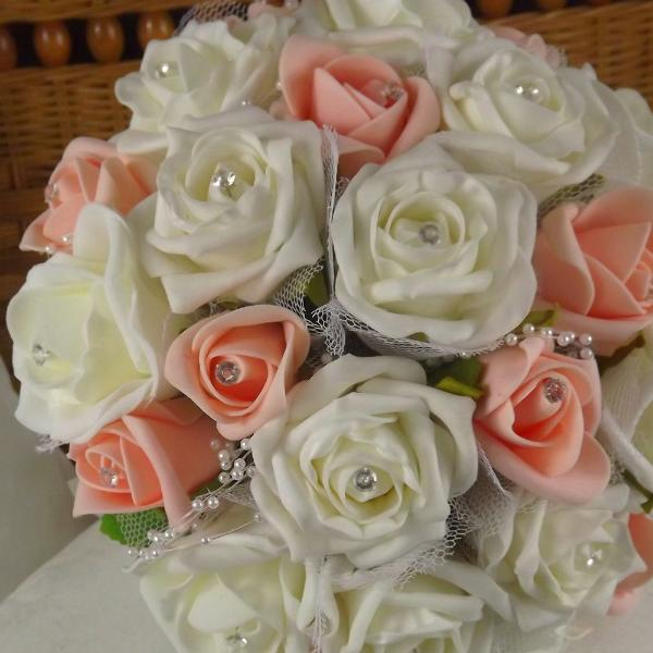 wedding bouquet, peach, ivory artificial foam rose flowers