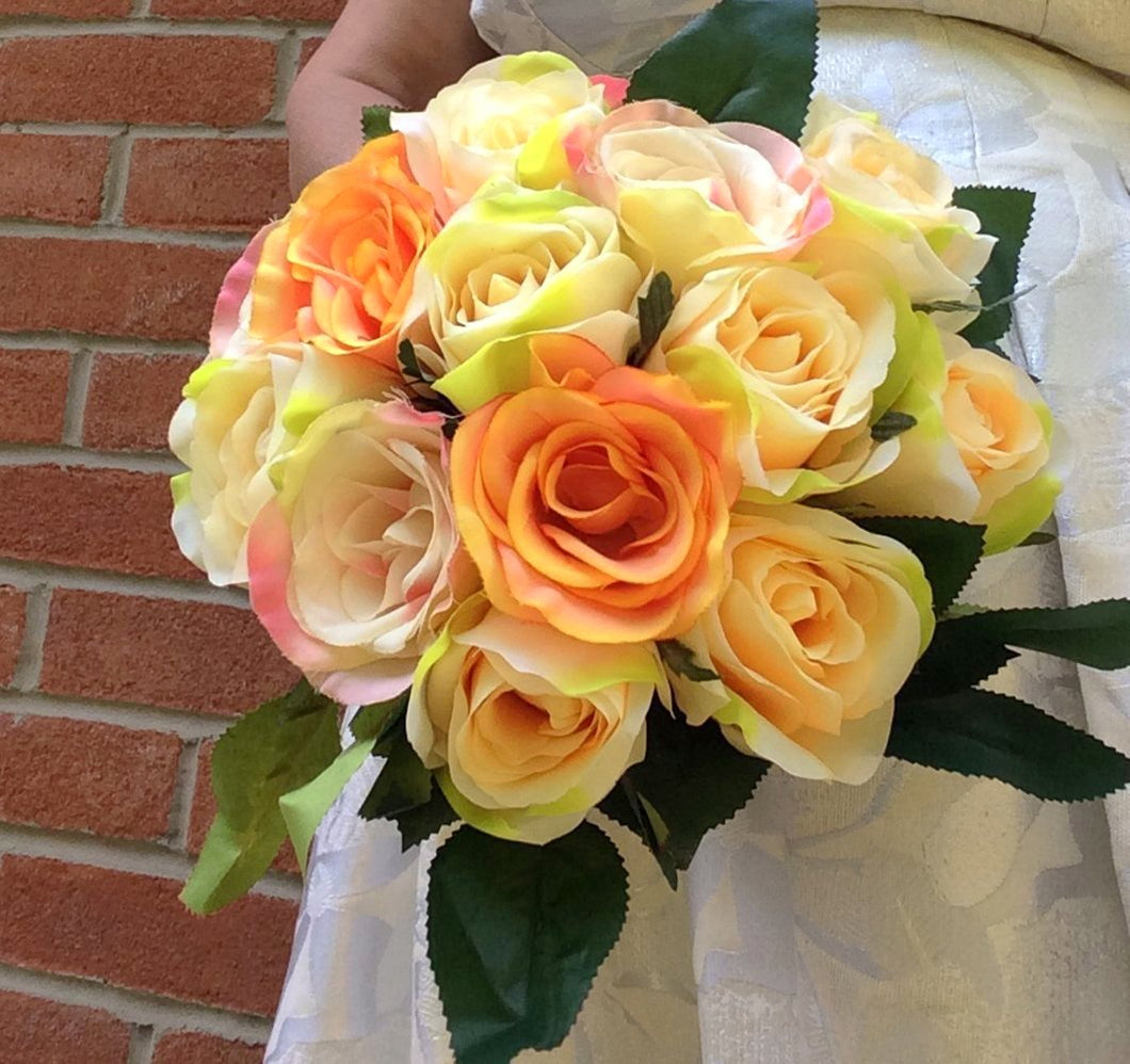 yellow rose artificial wedding bouquet
