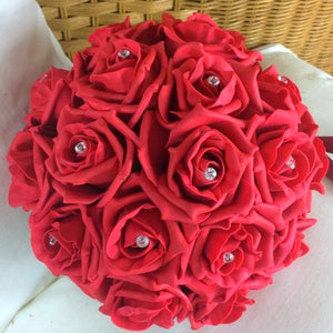 wedding posy bouquet of red foam roses with diamante centres