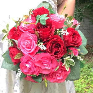 wedding posy bouquet of red cerise silk artificial roses flowers