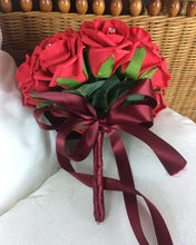 WEDDING BOUQUET of red foam rose flowers with diamante centres