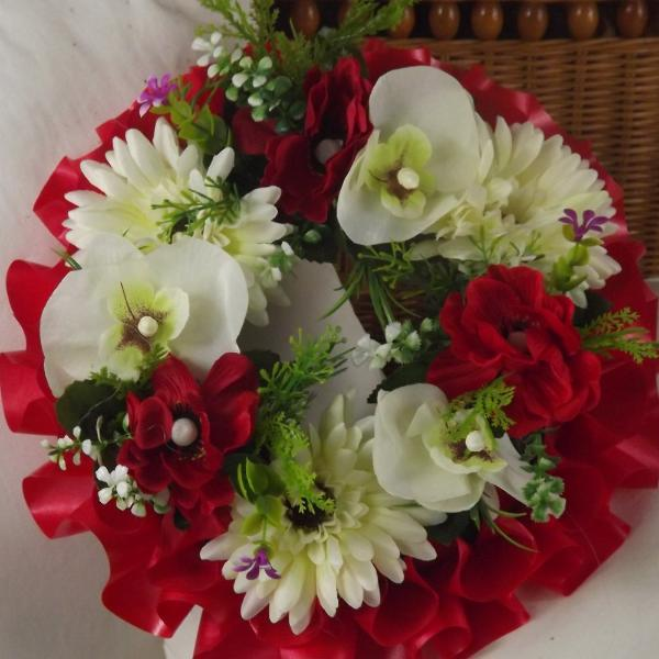 memorial artificial silk flower wreath red cream