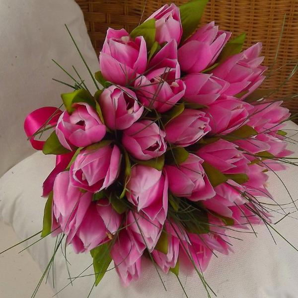 wedding bouquet, pink, artificial silk tulip flowers