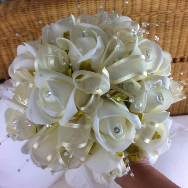 artificial wedding bouquet ivory foam roses flowers diamante and pearls