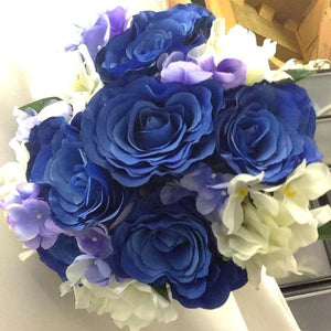 wedding bouquet artificial silk blue rose hydrangea flowers