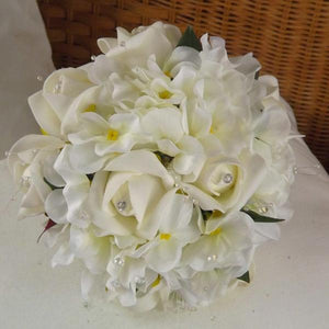 artificial wedding bouquet ivory roses hydrangea flowers