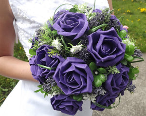 WEDDING BOUQUET of purple artificial foam roses with beargrass & gyp