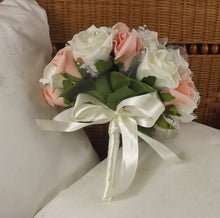 WEDDING BOUQUET of artificial peach & ivory foam rose flowers with diamante centres